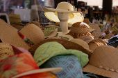 Colorful Straw Hats At A Market Stall In Verona