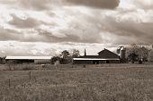 Sky Over Farm In Pennsylvania. B&w