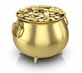 stock photo of pot gold  - Pot of gold coins isolated on white - JPG