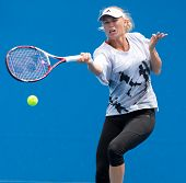 MELBOURNE - JANUARY 12: Caroline Wozniacki of Denmark in a practice session in the leadup to the 2013 Australian Open on January 12, 2013 in Melbourne, Australia.