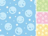 Emoticons four seamless patterns backgrounds