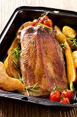 stock photo of barbary duck  - roasted goose breast with quince - JPG