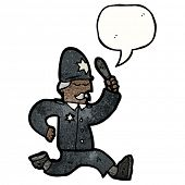 stock photo of truncheon  - cartoon policeman running - JPG