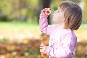 image of leaf-blower  - beautiful little girl making bubble blower on the autumn forest - JPG