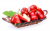Rose Apple Fruit  In Basket On White Background