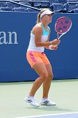 Professional tennis player Angelique Kerber practices for US Open