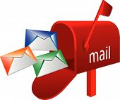 foto of mailbox  - Abstract vector illustration of mailbox on white - JPG