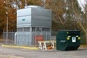 industrial heat pump AC system and a recycle dumpster