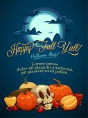 Happy Fall and Halloween Invitation Card. Vector illustration.
