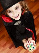 Halloween - child in Halloween costume  has a fun at Halloween party