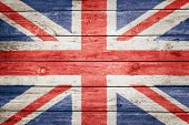 british flag on wood texture background