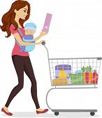 Illustration of a Woman Doing Some Grocery Shopping While Carrying a Baby