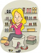 Illustration of a Woman in a Boutique Trying Different Types of Shoes
