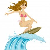 stock photo of string bikini  - Illustration of a Female Surfer Riding the Waves - JPG