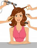 Illustration of a Girl Having Her Hair Styled and Her Face Made Up at the Same Time