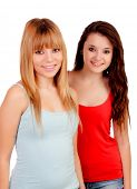 Two teen sisters isolated on white background