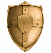 bronze metal shield isolated on white