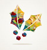 image of mistletoe  - Merry Christmas trendy mistletoe made with colorful triangles composition - JPG