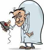 stock photo of frankenstein  - Cartoon Illustration of Spooky Halloween Evil Scientist Character - JPG