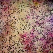 Abstract colorful background or paper with flower-theme grunge texture. For vintage layout design, h