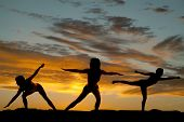 Silhouette Woman Arms Stretch Sunset