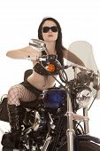 Woman Motorcycle Fish Net Glasses Facing