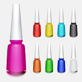 Set Of Multicolored Bottles Of Nail Polish