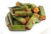 stock photo of kadai  - Close up of a plate of stir fried okra with chili - JPG