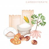 stock photo of carbohydrate  - Various Kind of Carbohydrate Foods to Improve Nutrient Intake and Health Benefits Carbohydrate Is One of The Main Types of Nutrients - JPG