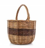 Brown Wicker Basket, Isolated Over White Background