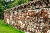 A Ruined Wall In Wat Mahathat, A Ruined Temple In Ayuthaya, Thailand.