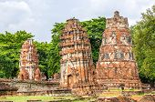 Old Stupas In Mahathat Temple, in Ayuthaya, Thailand.