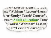 Education concept: Adult Education on Paper background