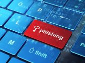 Safety concept: Key and Phishing on computer keyboard background