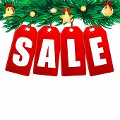 Word Sale On Red Labels Decorated With Christmas Tree Branches.seasonal Christmas Sale.branches Of A