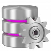 Database Icon With Magenta Elements And Cogwheel