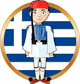 pic of evzon  - A Greek Evzone standing at attention in front of a Greek flag - JPG