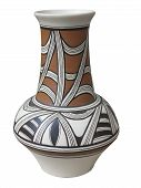 Colorful Designed Clay Vase Isolated