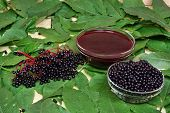 picture of elderberry  - Black fresh health fruits elderberry bowl juice - JPG