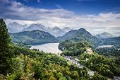 Bavarian Alps of Germany at Hohenschwangau Village and Lake Alpsee.