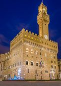 The Old Palace at night (Palazzo Vecchio or Palazzo della Signoria), in Florence (Italy).