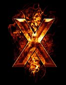 x, illustration of  letter with chrome effects and red fire on black background