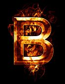 b, illustration of  letter with chrome effects and red fire on black background