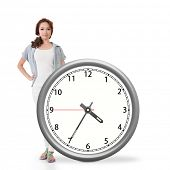 Asian woman push a clock, concept of time.