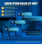 Blue business background with three level graph and bookmarks for text content