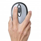 woman hand with a computer mouse on a white background