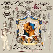 Heraldic Vector Set Of  Design Elements In Vintage Style