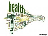 Vector eps concept or conceptual 3D abstract health word cloud or wordcloud on white background