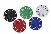 Five gambling chips in different colors on white background