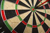 Dart board with dark on bullseye